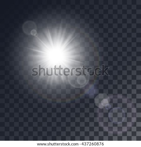 Shutterstock Vector white sun with light effects. Rays, hotspots on transparent like background.