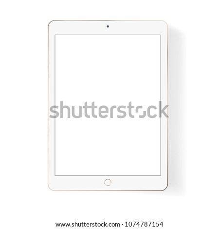 Vector white tablet pc isolated on white background. Mock up.