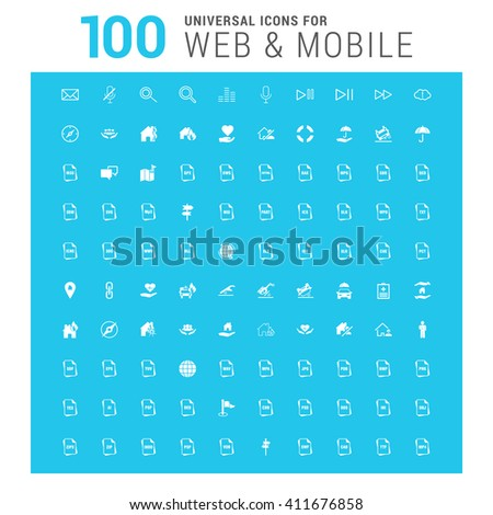 vector white 100 universal web icons set on blue