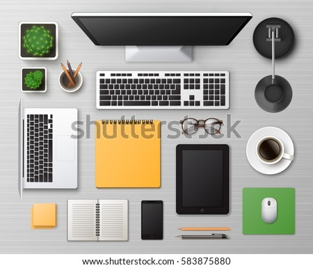 Vector White Wooden Working Table with Office Supplies Stuff and Digital Devices: Laptop Smartphone Computer Tablet Mouse Pencil Pen Notepad Stickers Cup Coffee Glasses Lamp Cactus Top View Workplace