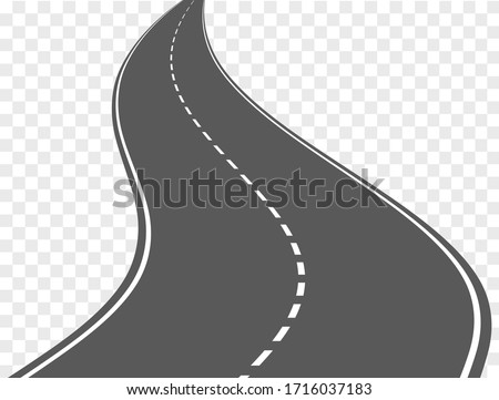 vector winding road isolated on