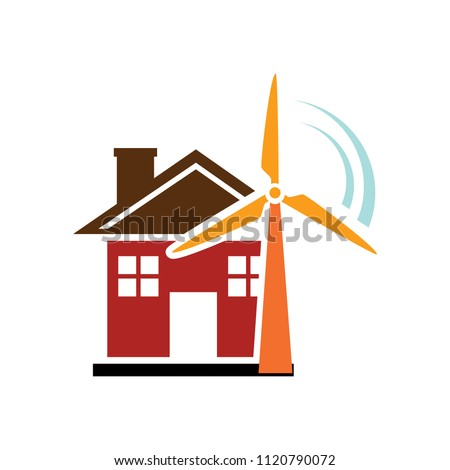 vector Windmill illustration, farm alternative energy power - ecology sign symbol isolated #1120790072