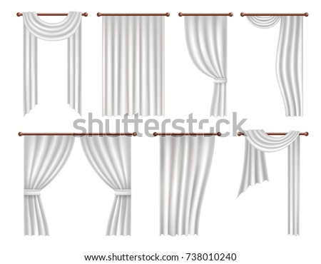 Vector window curtains and drapes set. Realistic illustration isolated on white background.