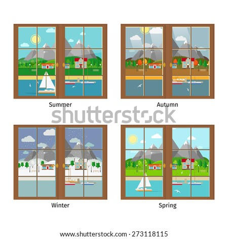Vector window in different season. Summer and autumn, spring and winter, window frame, landscape mountains