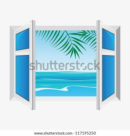 vector window  view the sea