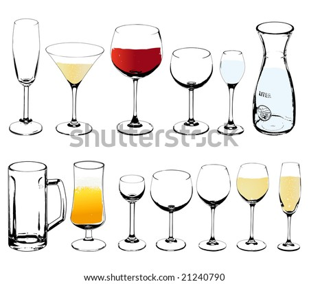 Vector wine and cognac glasses