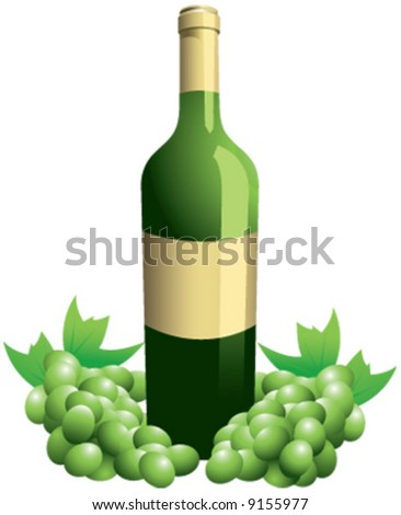 Vector wine bottle with grapes