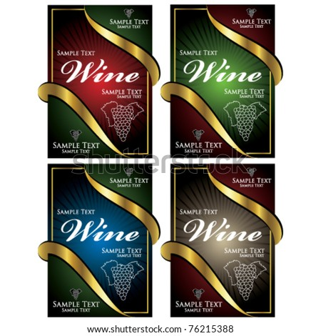 vector wine label set