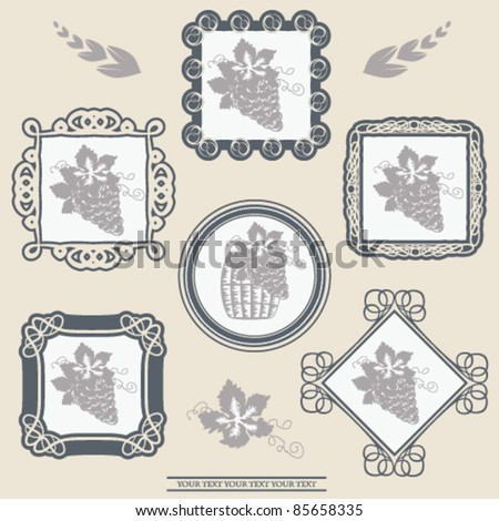 Vector wine labels with ornament frames