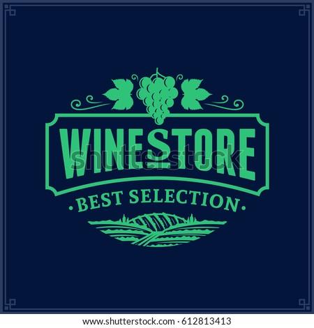 Vector wine logo on dark blue background for wine shop, restaurant menu, winery branding and identity
