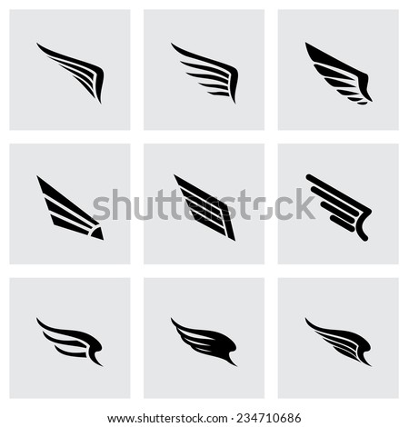 vector wing icon set on grey