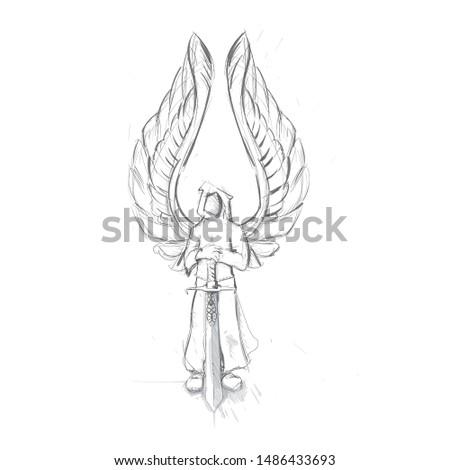 vector winged angel  standing