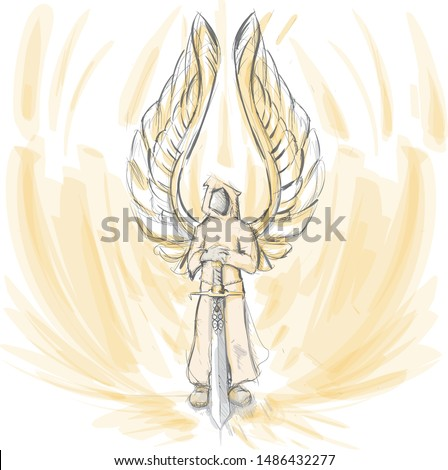 vector winged gold angel