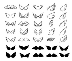 Vector wings icon set. Bird or angel wing silhouette illustration design feather. Wings icon sketch collection hand drawing.