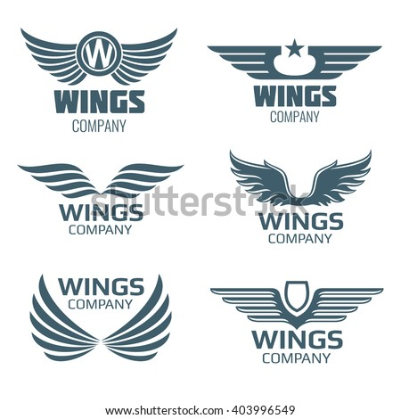 Shutterstock Vector wings logo set. Winged logo company and icon wing flying, eagle wing brand and logotype wing bird illustration