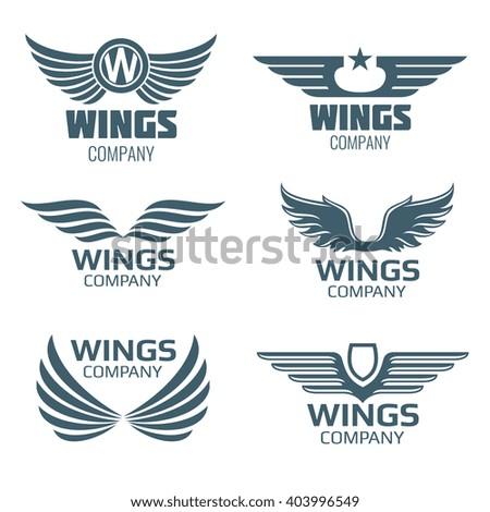 vector wings logo set winged