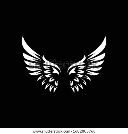 Vector wings logo. Winged logo company and icon wing flying, eagle wing brand and logotype wing bird illustration