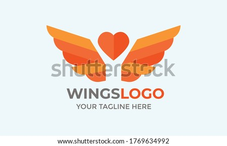 Vector wings logo. Winged logo company and icon wing flying, eagle wing brand and logotype wing bird illustration.abstract wing logo icon. Material design style