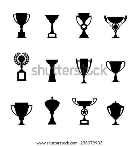 Vector winner cup. Trophy icon set