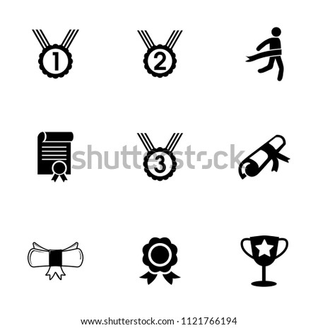vector winner icons set, award prize symbol. champion medal achievement sign - sports championship illustrations