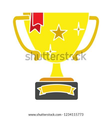 Vector winner trophy cup illustration.golden cup prize symbol - golden achievement vector