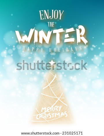 Vector Winter background. Winter Label with christmas decoration in snow background.