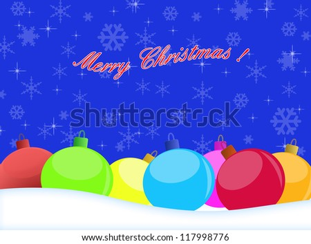 Vector winter background with beautiful various colors of christmas balls, vector illustration