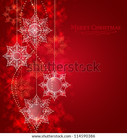 Vector winter background with beautiful various snowflakes