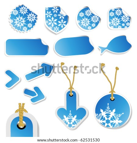 Vector winter blue stickers, tags and arrows