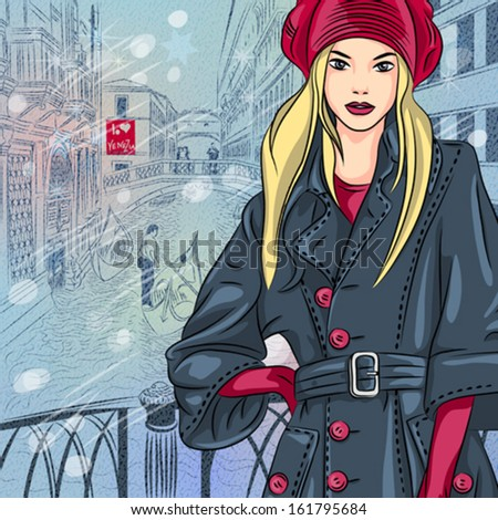 Vector winter Christmas color sketch with beautiful fashion girl on the Bridge of Sighs in Venice