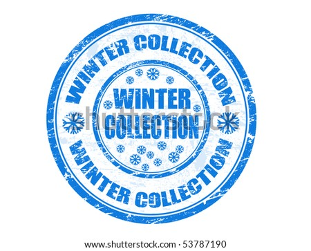vector winter collection rubber stamp
