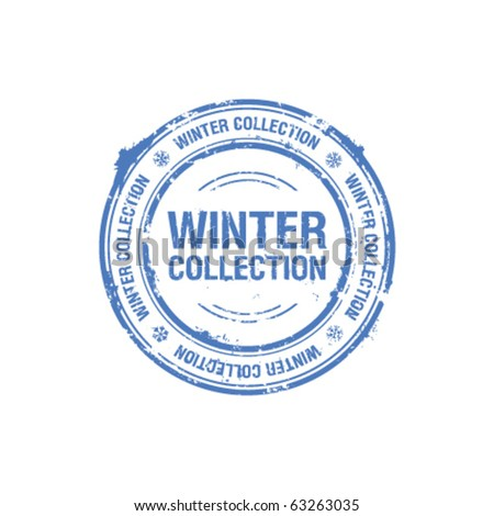 vector winter collection stamp