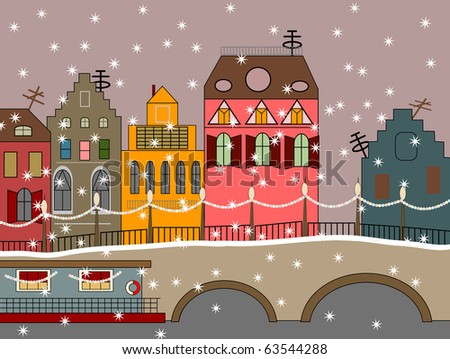 vector winter fairy town with