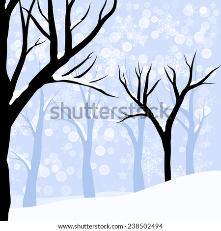 vector winter forest or wood