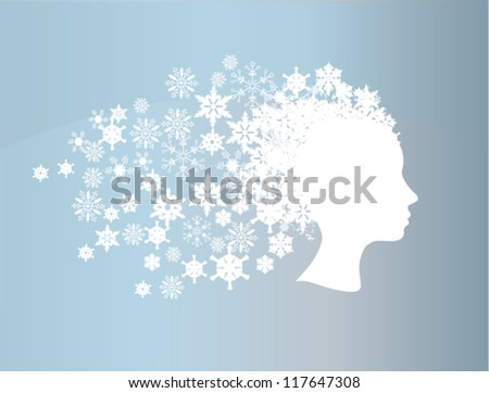 vector winter head silhouette - stock vector