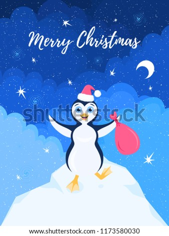 Vector winter illustration of a happy stomping penguin in santa hat with bag in open arms on an iceberg under the starry sky. Text Merry Christmas.