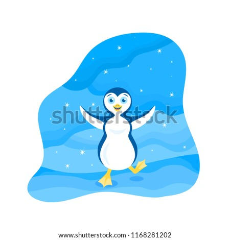 Vector winter illustration of a happy stomping penguin with open arms among the snowy wilderness under the starry sky.