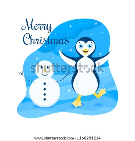 Vector winter illustration of a happy stomping penguin with open arms among the snowy wilderness with snowman under the starry sky. Text Merry Christmas.