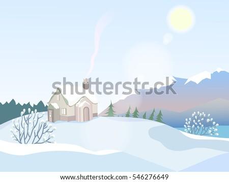 vector winter landscape a lone