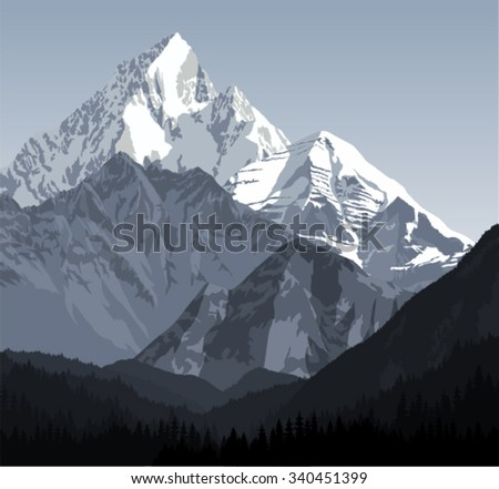 vector winter landscape in the