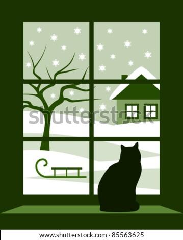 vector winter landscape outside