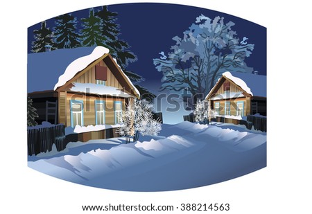 vector winter landscape winter