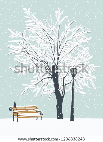 Vector winter landscape with a lonely cat on a bench in the Park under a snow-covered tree. Snowy winter illustration