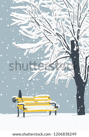 vector winter landscape with a