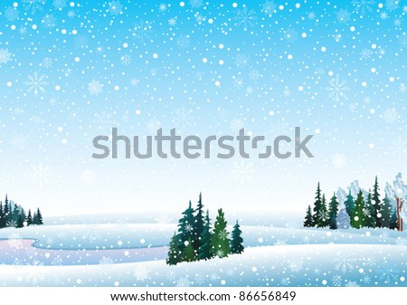 Vector winter landscape with frozen lake forest and snowfall