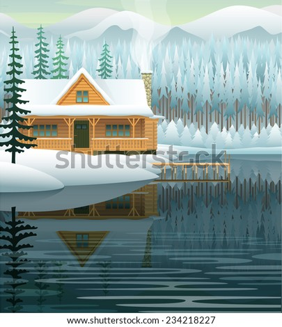 Vector winter landscape with mountain lake and wooden house