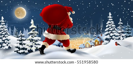 Vector winter landscape with Santa Claus in the foreground.