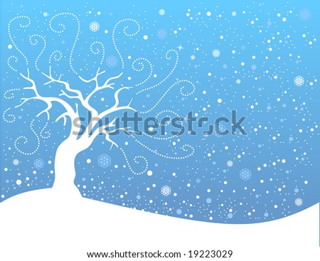 Vector winter landscape with white snowflakes and trees.