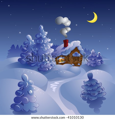 Vector winter moon night landscape with a house and furtrees.
