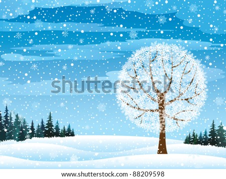 vector winter nature with